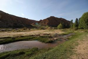 Wilder Lavendel und kleiner Bach beim Canyon